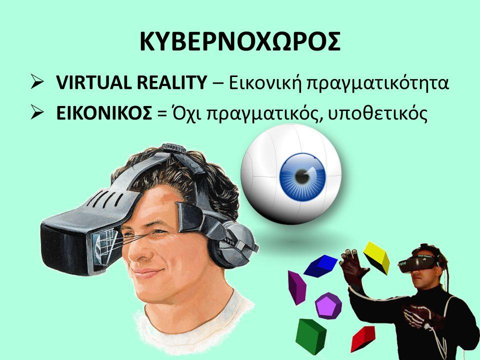 ΚΥΒΕΡΝΟΧΩΡΟΣ  VIRTUAL REALITY – Eικονική πραγματικότητα  ΕΙΚΟΝΙΚΟΣ = Όχι πραγματικός, υποθετικός