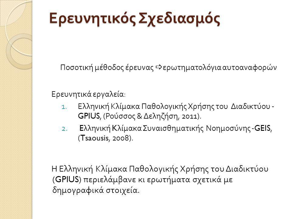 Ερευνητικός Σχεδιασμός Ποσοτική μέθοδος έρευνας  ερωτηματολόγια αυτοαναφορών Ερευνητικά εργαλεία : 1.Ελληνική Κλίμακα Παθολογικής Χρήσης του Διαδικτύου - GPIUS, ( Ρούσσος & Δεληζήση, 2011).