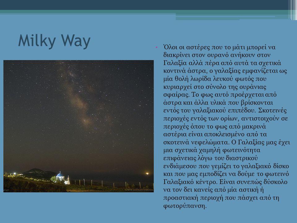 Milky Way Στην ουράνια σφαίρα, σχετικά με τον ουράνιο ισημερινό, ο Γαλαξίας εκτείνεται βόρεια μέχρι τον αστερισμό Κασσιόπη και νότια μέχρι τον αστερισμό Νότιο Σταυρό, πράγμα που δείχνει τη μεγάλη κλίση του επιπέδου του ισημερινού της Γης (περίπου 60 μοίρες) και του επιπέδου της εκλειπτικής ως προς το γαλαξιακό επίπεδο.