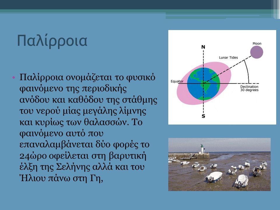 Παλίρροια Παλίρροια ονομάζεται το φυσικό φαινόμενο της περιοδικής ανόδου και καθόδου της στάθμης του νερού μίας μεγάλης λίμνης και κυρίως των θαλασσών.