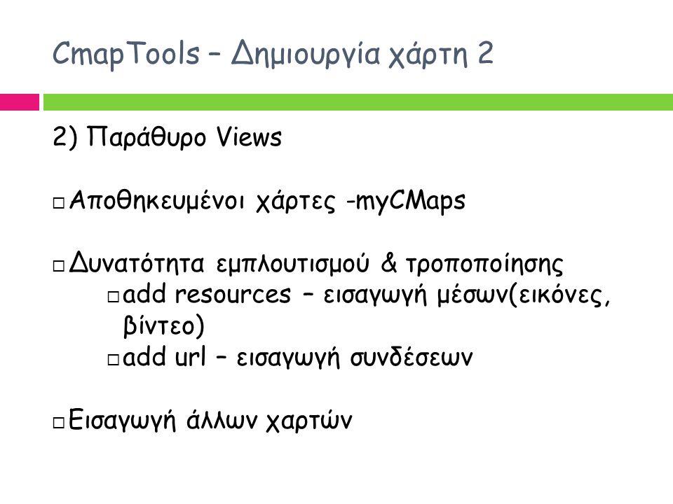 CmapTools – Δημιουργία χάρτη 2 2) Παράθυρο Views  Αποθηκευμένοι χάρτες -myCMaps  Δυνατότητα εμπλουτισμού & τροποποίησης  add resources – εισαγωγή μ