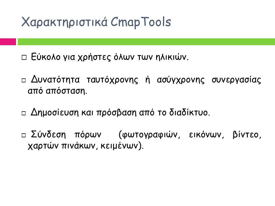Χαρακτηριστικά CmapTools  Εύκολο για χρήστες όλων των ηλικιών.  Δυνατότητα ταυτόχρονης ή ασύγχρονης συνεργασίας από απόσταση.  Δημοσίευση και πρόσβ