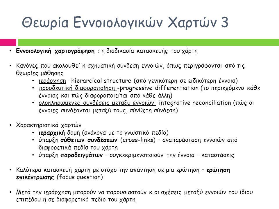 Διδακτική Αξιοποίηση 2 CmapTools ως αξιολόγηση Μπορεί να χρησιμοποιηθεί ως Διαγνωστική αξιολόγηση (πρότερων αντιλήψεων και γνώσεων μαθητών) Διαμορφωτική αξιολόγηση Τελική αξιολόγηση (Γουλή, Γόγουλου & Γρηγοριάδου) Η αξιολόγηση μπορεί να γίνει σχετικά με την ορθότητα και την πληρότητα των χαρτών, σχετικά με τις παραλείψεις και τη δυνατότητα ελέγχου των μαθητών για τη γνώση τους.