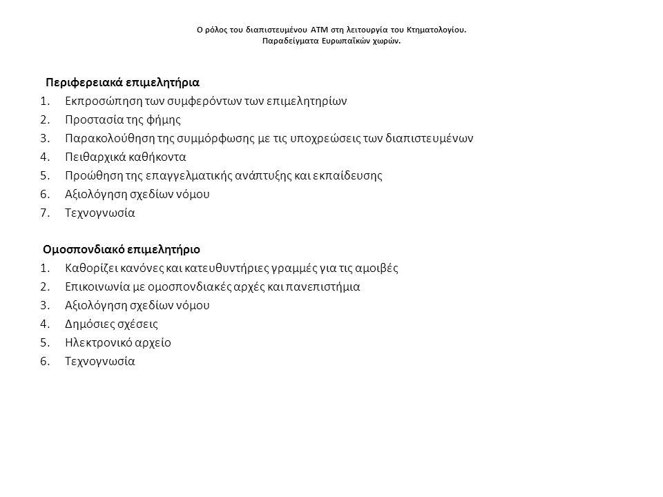 Ο ρόλος του διαπιστευμένου ΑΤΜ στη λειτουργία του Κτηματολογίου. Παραδείγματα Ευρωπαϊκών χωρών. Περιφερειακά επιμελητήρια 1.Εκπροσώπηση των συμφερόντω