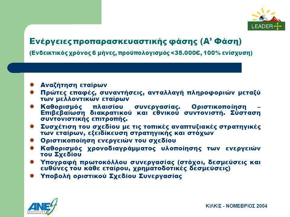 ΚΙΛΚΙΣ - ΝΟΜΕΒΡΙΟΣ 2004 Ενέργειες προπαρασκευαστικής φάσης (Α' Φάση) (Ενδεικτικός χρόνος 6 μήνες, προϋπολογισμός <35.000Є, 100% ενίσχυση) Αναζήτηση εταίρων Πρώτες επαφές, συναντήσεις, ανταλλαγή πληροφοριών μεταξύ των μελλοντικών εταίρων Καθορισμός πλαισίου συνεργασίας.
