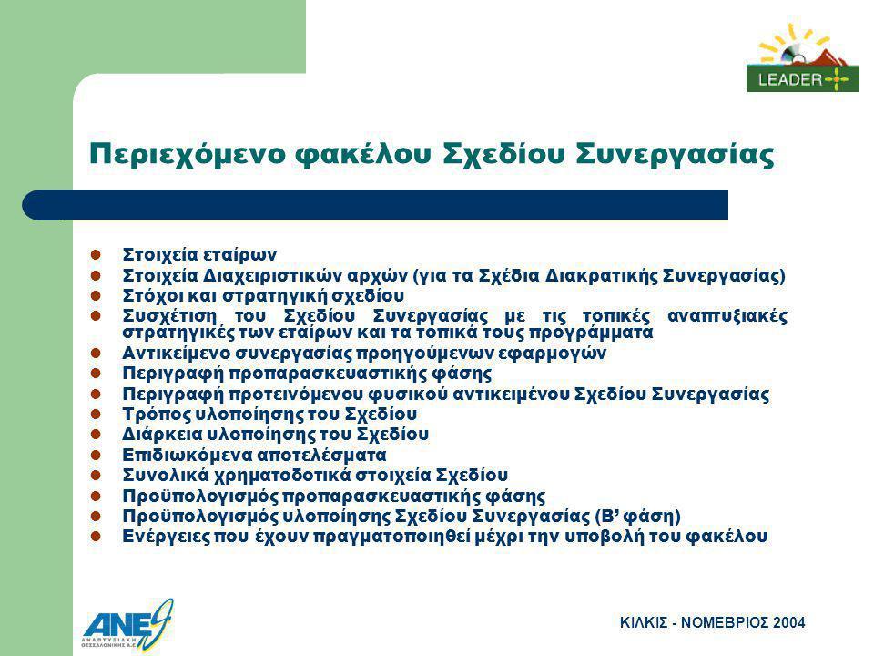 ΚΙΛΚΙΣ - ΝΟΜΕΒΡΙΟΣ 2004 Περιεχόμενο φακέλου Σχεδίου Συνεργασίας Στοιχεία εταίρων Στοιχεία Διαχειριστικών αρχών (για τα Σχέδια Διακρατικής Συνεργασίας) Στόχοι και στρατηγική σχεδίου Συσχέτιση του Σχεδίου Συνεργασίας με τις τοπικές αναπτυξιακές στρατηγικές των εταίρων και τα τοπικά τους προγράμματα Αντικείμενο συνεργασίας προηγούμενων εφαρμογών Περιγραφή προπαρασκευαστικής φάσης Περιγραφή προτεινόμενου φυσικού αντικειμένου Σχεδίου Συνεργασίας Τρόπος υλοποίησης του Σχεδίου Διάρκεια υλοποίησης του Σχεδίου Επιδιωκόμενα αποτελέσματα Συνολικά χρηματοδοτικά στοιχεία Σχεδίου Προϋπολογισμός προπαρασκευαστικής φάσης Προϋπολογισμός υλοποίησης Σχεδίου Συνεργασίας (Β' φάση) Ενέργειες που έχουν πραγματοποιηθεί μέχρι την υποβολή του φακέλου