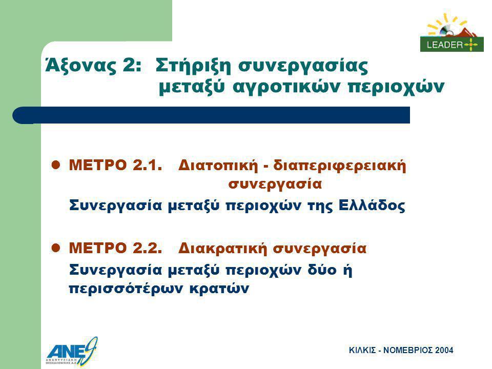 ΚΙΛΚΙΣ - ΝΟΜΕΒΡΙΟΣ 2004 Άξονας 2: Στήριξη συνεργασίας μεταξύ αγροτικών περιοχών ΜΕΤΡΟ 2.1.