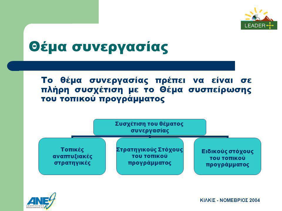 ΚΙΛΚΙΣ - ΝΟΜΕΒΡΙΟΣ 2004 Θέμα συνεργασίας Το θέμα συνεργασίας πρέπει να είναι σε πλήρη συσχέτιση με το Θέμα συσπείρωσης του τοπικού προγράμματος Συσχέτιση του θέματος συνεργασίας Τοπικές αναπτυξιακές στρατηγικές Στρατηγικούς Στόχους του τοπικού προγράμματος Ειδικούς στόχους του τοπικού προγράμματος