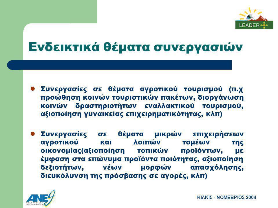 ΚΙΛΚΙΣ - ΝΟΜΕΒΡΙΟΣ 2004 Ενδεικτικά θέματα συνεργασιών Συνεργασίες σε θέματα αγροτικού τουρισμού (π.χ προώθηση κοινών τουριστικών πακέτων, διοργάνωση κοινών δραστηριοτήτων εναλλακτικού τουρισμού, αξιοποίηση γυναικείας επιχειρηματικότητας, κλπ) Συνεργασίες σε θέματα μικρών επιχειρήσεων αγροτικού και λοιπών τομέων της οικονομίας(αξιοποίηση τοπικών προϊόντων, με έμφαση στα επώνυμα προϊόντα ποιότητας, αξιοποίηση δεξιοτήτων, νέων μορφών απασχόλησης, διευκόλυνση της πρόσβασης σε αγορές, κλπ)