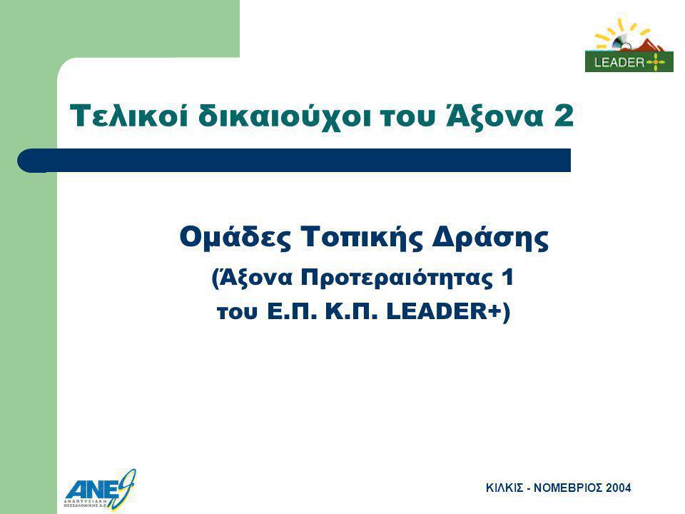 ΚΙΛΚΙΣ - ΝΟΜΕΒΡΙΟΣ 2004 Τελικοί δικαιούχοι του Άξονα 2 Ομάδες Τοπικής Δράσης (Άξονα Προτεραιότητας 1 του Ε.Π.