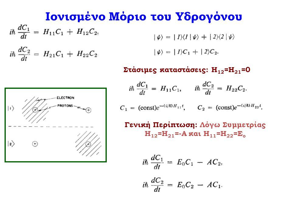 Στάσιμες καταστάσεις: Η 12 =Η 21 =0 Γενική Περίπτωση: Λόγω Συμμετρίας Η 12 =Η 21 =-Α και Η 11 =Η 22 =Ε ο Ιονισμένο Μόριο του Υδρογόνου