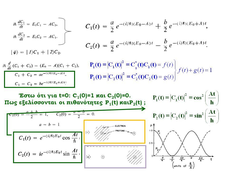 Έστω ότι για t=0: C 1 (0)=1 και C 2 (0)=0. Πως εξελίσσονται οι πιθανότητες P 1 (t) καιP 2 (t) ;