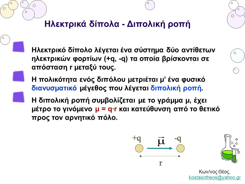 Κων/νος Θέος, kostasctheos@yahoo.gr kostasctheos@yahoo.gr Ηλεκτρικά δίπολα - Διπολική ροπή Ηλεκτρικό δίπολο λέγεται ένα σύστημα δύο αντίθετων ηλεκτρικ
