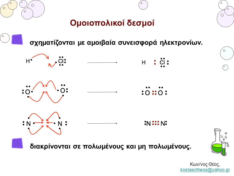 Κων/νος Θέος, kostasctheos@yahoo.gr kostasctheos@yahoo.gr Ομοιοπολικοί δεσμοί σχηματίζονται με αμοιβαία συνεισφορά ηλεκτρονίων. διακρίνονται σε πολωμέ