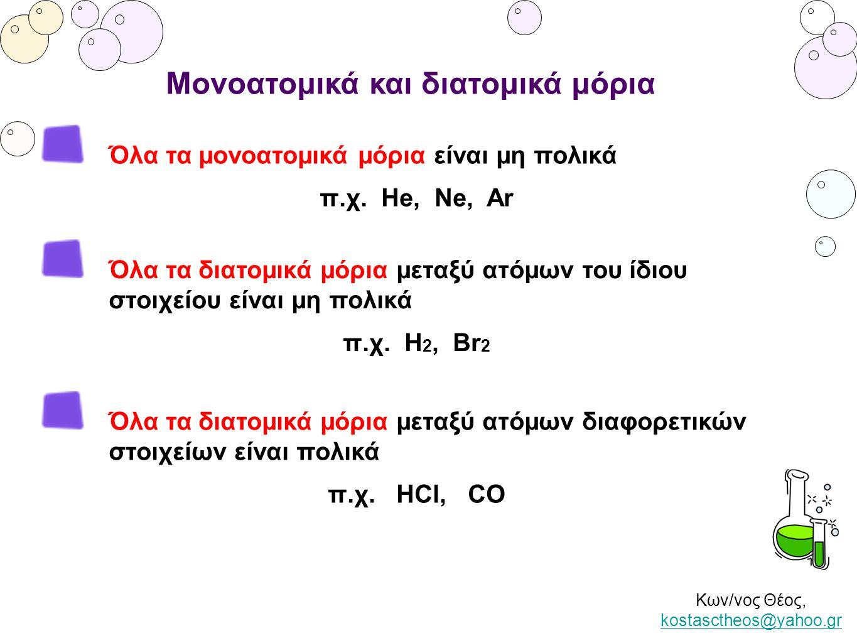 Κων/νος Θέος, kostasctheos@yahoo.gr kostasctheos@yahoo.gr Μονοατομικά και διατομικά μόρια Όλα τα μονοατομικά μόρια είναι μη πολικά π.χ. Ηe, Ne, Ar Όλα