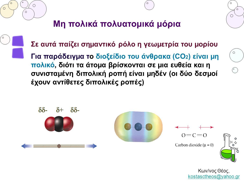 Κων/νος Θέος, kostasctheos@yahoo.gr kostasctheos@yahoo.gr Μη πολικά πολυατομικά μόρια Σε αυτά παίζει σημαντικό ρόλο η γεωμετρία του μορίου Για παράδει