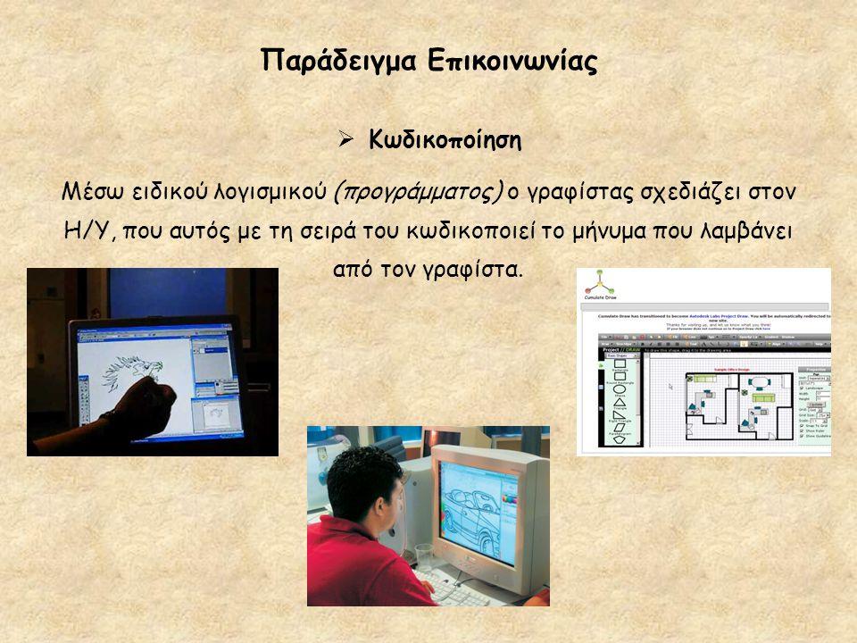 Παράδειγμα Επικοινωνίας  Κωδικοποίηση Μέσω ειδικού λογισμικού (προγράμματος) ο γραφίστας σχεδιάζει στον Η/Υ, που αυτός με τη σειρά του κωδικοποιεί το