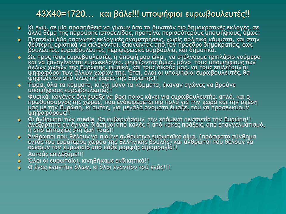 43Χ40=1720… και βάλε!!. υποψήφιοι ευρωβουλευτές!.