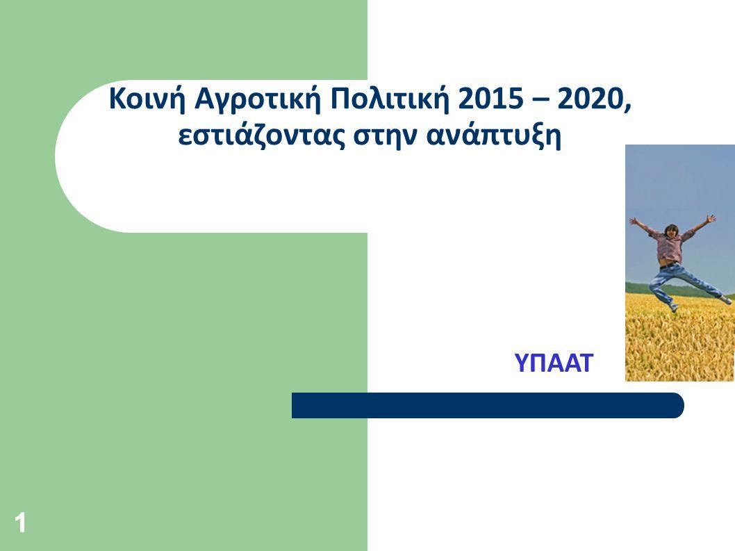 11 Κοινή Αγροτική Πολιτική 2015 – 2020, εστιάζοντας στην ανάπτυξη ΥΠΑΑΤ
