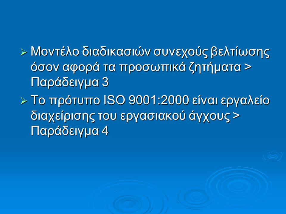  Μοντέλο διαδικασιών συνεχούς βελτίωσης όσον αφορά τα προσωπικά ζητήματα > Παράδειγμα 3  Το πρότυπο ISO 9001:2000 είναι εργαλείο διαχείρισης του εργασιακού άγχους > Παράδειγμα 4