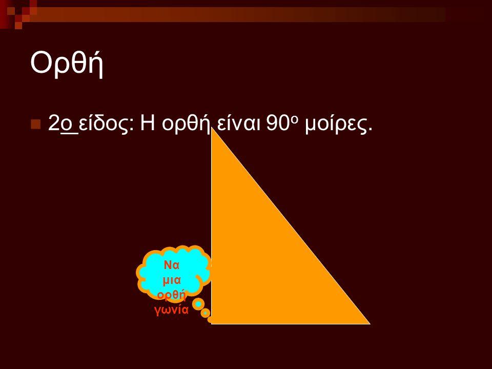 Ορθή 2ο είδος: Η ορθή είναι 90 ο μοίρες. Να μια ορθή γωνία