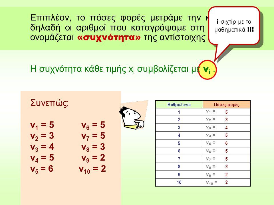 Επιπλέον, το πόσες φορές μετράμε την κάθε τιμή, δηλαδή οι αριθμοί που καταγράψαμε στη 2 η στήλη, ονομάζεται «συχνότητα» της αντίστοιχης τιμής.
