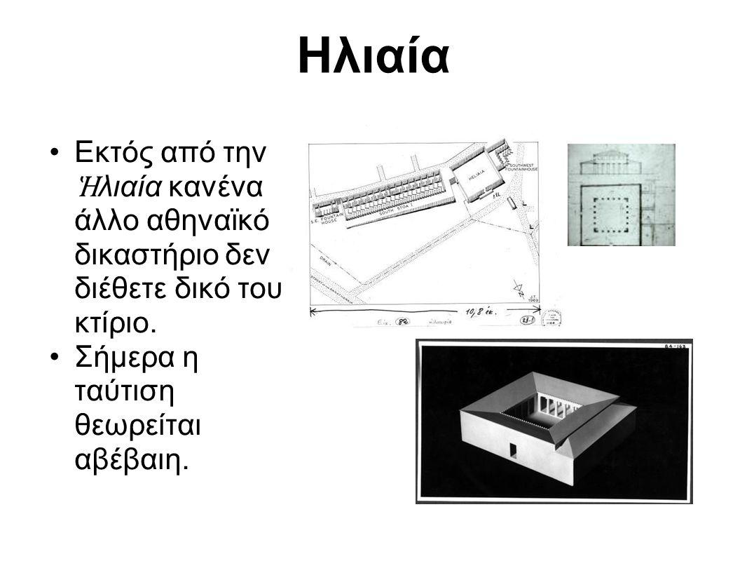 Εκτός από την Ἡ λιαία κανένα άλλο αθηναϊκό δικαστήριο δεν διέθετε δικό του κτίριο. Σήμερα η ταύτιση θεωρείται αβέβαιη. Ηλιαία