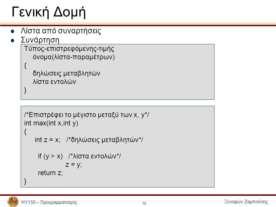 Ξενοφών Ζαμπούλης ΗΥ150 – Προγραμματισμός 14 Γενική Δομή Λίστα από συναρτήσεις Συνάρτηση Τύπος-επιστρεφόμενης-τιμής όνομα(λίστα-παραμέτρων) { δηλώσεις μεταβλητών λίστα εντολών } /*Επιστρέφει το μέγιστο μεταξύ των x, y*/ int max(int x,int y) { int z = x; /*δηλώσεις μεταβλητών*/ if (y > x) /*λίστα εντολών*/ z = y; return z; }