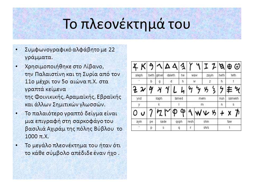 Το πλεονέκτημά του Συμφωνογραφικό αλφάβητο με 22 γράμματα.