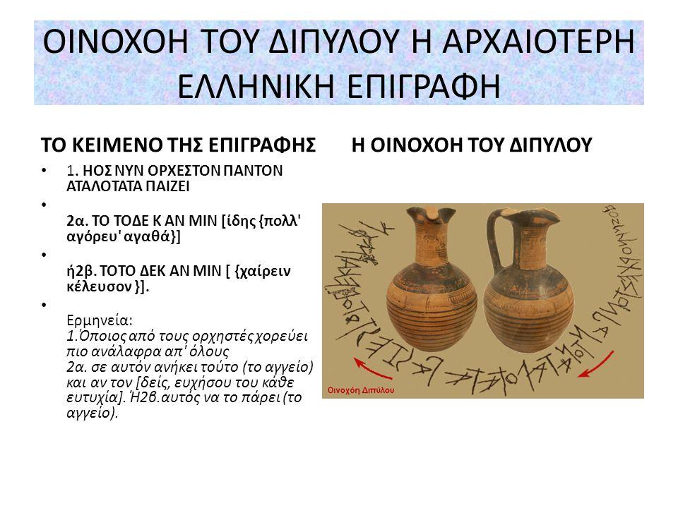ΦΟΡΑ ΓΡΑΦΗΣ Τέλος χρησιμοποιήθηκε η ες ευθύ γραφή, δηλαδή η γραφή με κατεύθυνση από τα αριστερά προς τα δεξιά. Η αρχαιοελληνική γραφή είναι κεφαλαιογρ