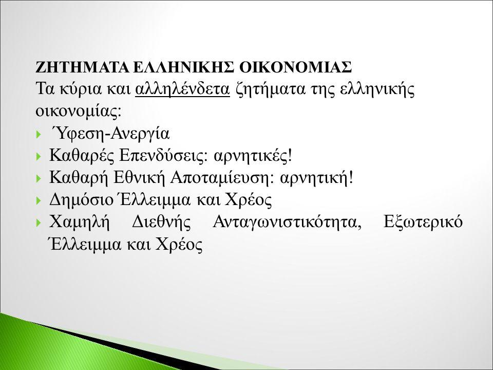 ΖΗΤΗΜΑΤΑ ΕΛΛΗΝΙΚΗΣ ΟΙΚΟΝΟΜΙΑΣ Τα κύρια και αλληλένδετα ζητήματα της ελληνικής οικονομίας:  Ύφεση-Ανεργία  Καθαρές Επενδύσεις: αρνητικές.