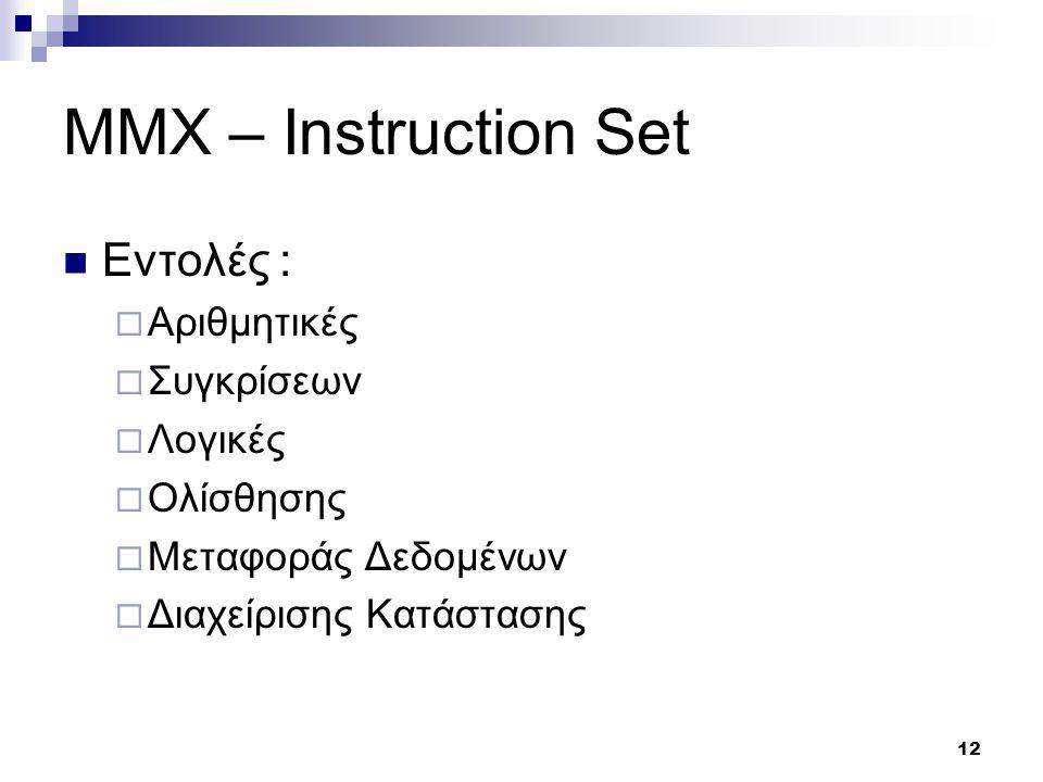 12 MMX – Instruction Set Εντολές :  Αριθμητικές  Συγκρίσεων  Λογικές  Ολίσθησης  Μεταφοράς Δεδομένων  Διαχείρισης Κατάστασης