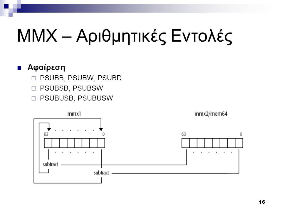 16 MMX – Αριθμητικές Εντολές Αφαίρεση  PSUBB, PSUBW, PSUBD  PSUBSB, PSUBSW  PSUBUSB, PSUBUSW