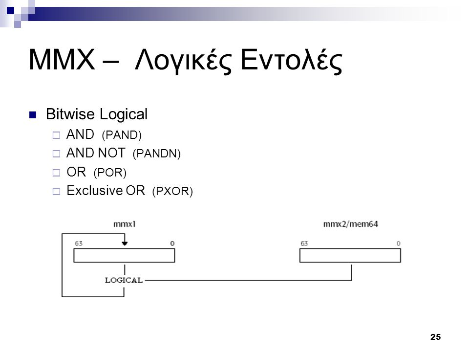 25 MMX – Λογικές Εντολές Bitwise Logical  AND (PAND)  AND NOT (PANDN)  OR (POR)  Exclusive OR (PXOR)
