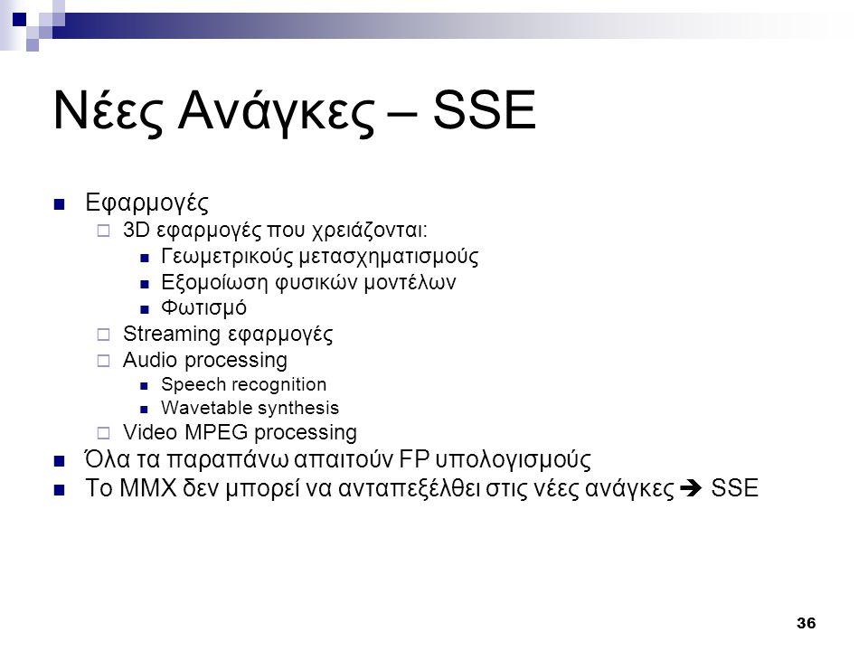 36 Νέες Ανάγκες – SSE Εφαρμογές  3D εφαρμογές που χρειάζονται: Γεωμετρικούς μετασχηματισμούς Εξομοίωση φυσικών μοντέλων Φωτισμό  Streaming εφαρμογές  Audio processing Speech recognition Wavetable synthesis  Video MPEG processing Όλα τα παραπάνω απαιτούν FP υπολογισμούς Το ΜΜΧ δεν μπορεί να ανταπεξέλθει στις νέες ανάγκες  SSE