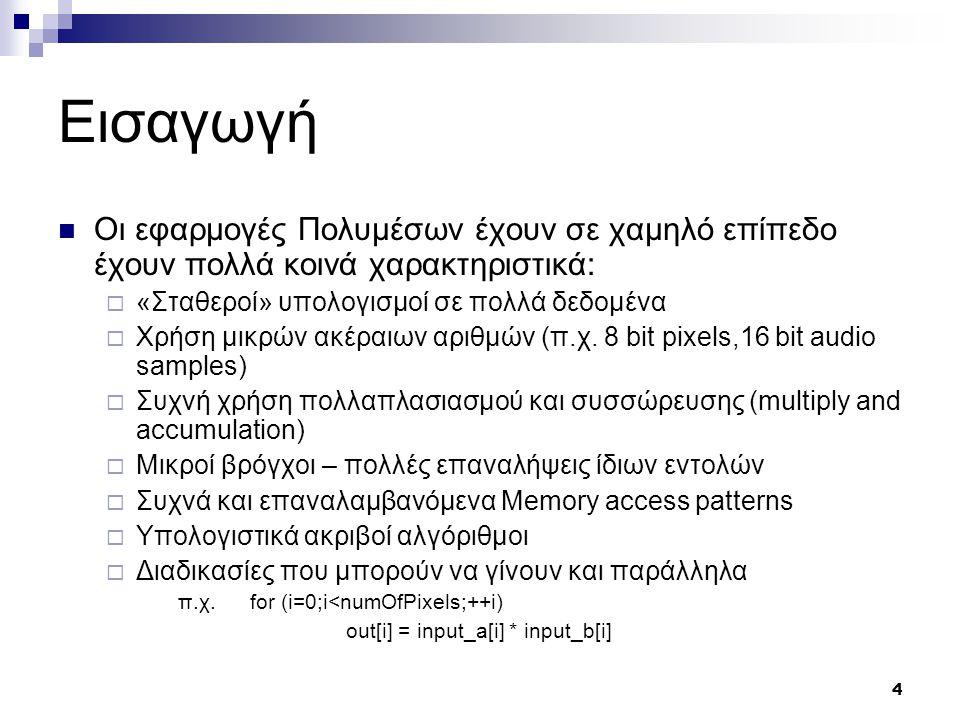 35 MMX – Παραδείγματα Εσωτερικό γινόμενο διανυσμάτων  2 MOVQ  2 PMADDWD  Πολύ πιο γρήγορα απ' 'οτι χωρίς MMX  2 PADD