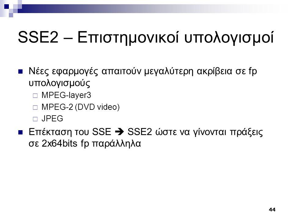 44 SSE2 – Επιστημονικοί υπολογισμοί Νέες εφαρμογές απαιτούν μεγαλύτερη ακρίβεια σε fp υπολογισμούς  MPEG-layer3  MPEG-2 (DVD video)  JPEG Επέκταση του SSE  SSE2 ώστε να γίνονται πράξεις σε 2x64bits fp παράλληλα