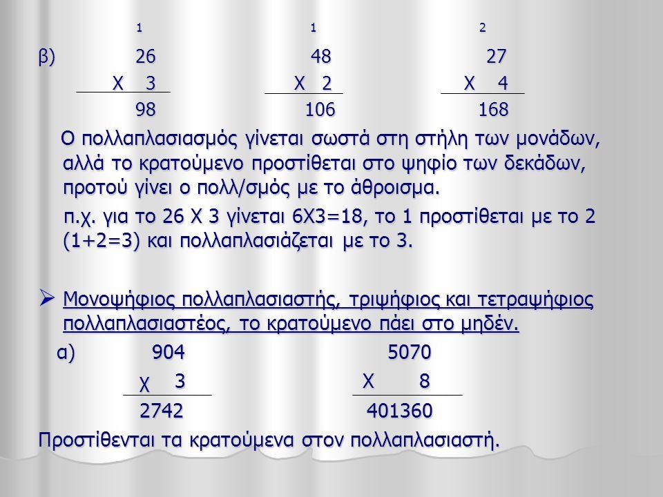 1 1 2 1 1 2 β) 26 48 27 Χ 3 Χ 2 Χ 4 Χ 3 Χ 2 Χ 4 98 106 168 98 106 168 Ο πολλαπλασιασμός γίνεται σωστά στη στήλη των μονάδων, αλλά το κρατούμενο προστίθεται στο ψηφίο των δεκάδων, προτού γίνει ο πολλ/σμός με το άθροισμα.