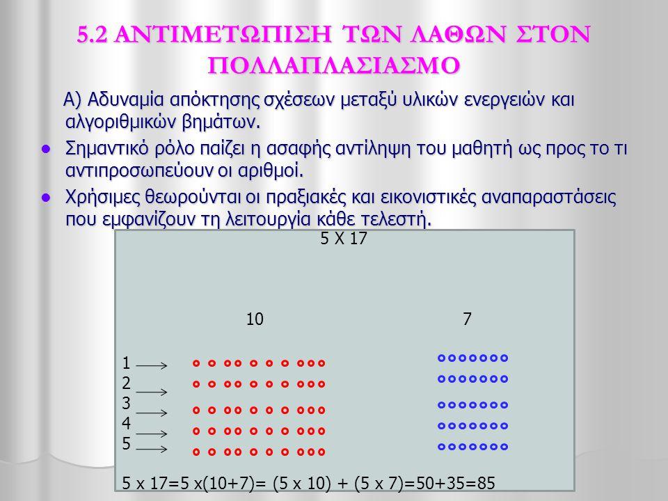 5.2 ΑΝΤΙΜΕΤΩΠΙΣΗ ΤΩΝ ΛΑΘΩΝ ΣΤΟΝ ΠΟΛΛΑΠΛΑΣΙΑΣΜΟ Α) Αδυναμία απόκτησης σχέσεων μεταξύ υλικών ενεργειών και αλγοριθμικών βημάτων. Α) Αδυναμία απόκτησης σ