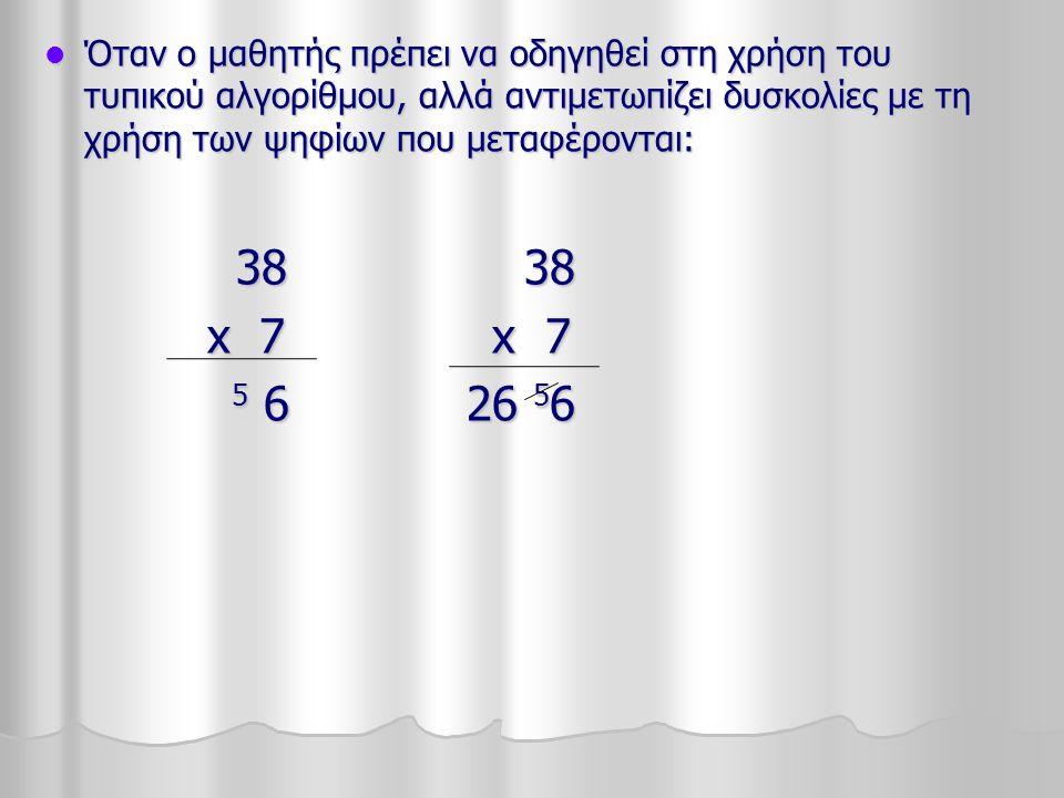 Όταν ο μαθητής πρέπει να οδηγηθεί στη χρήση του τυπικού αλγορίθμου, αλλά αντιμετωπίζει δυσκολίες με τη χρήση των ψηφίων που μεταφέρονται: Όταν ο μαθητής πρέπει να οδηγηθεί στη χρήση του τυπικού αλγορίθμου, αλλά αντιμετωπίζει δυσκολίες με τη χρήση των ψηφίων που μεταφέρονται: 38 38 38 38 x 7 x 7 x 7 x 7 5 6 26 5 6 5 6 26 5 6