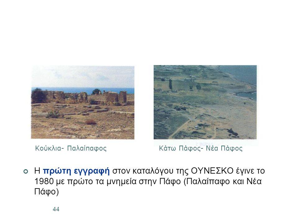 44 Η πρώτη εγγραφή στον καταλόγου της ΟΥΝΕΣΚΟ έγινε το 1980 με πρώτο τα μνημεία στην Πάφο (Παλαίπαφο και Νέα Πάφο) Κούκλια- ΠαλαίπαφοςΚάτω Πάφος- Νέα Πάφος