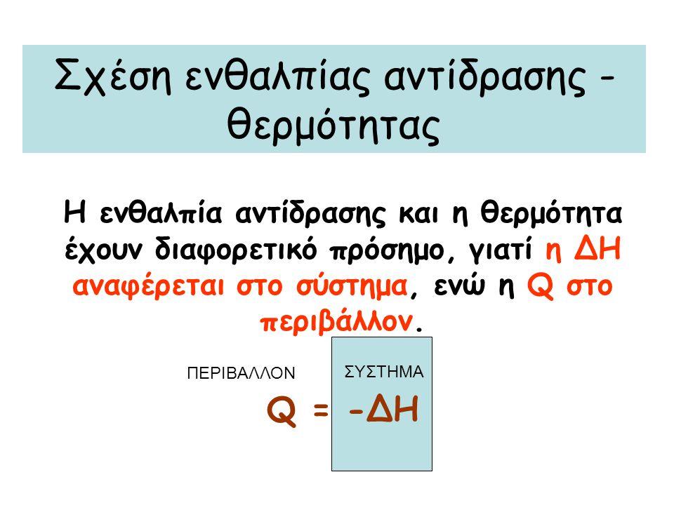 Σχέση ενθαλπίας αντίδρασης - θερμότητας Η ενθαλπία αντίδρασης και η θερμότητα έχουν διαφορετικό πρόσημο, γιατί η ∆Η αναφέρεται στο σύστημα, ενώ η Q στ