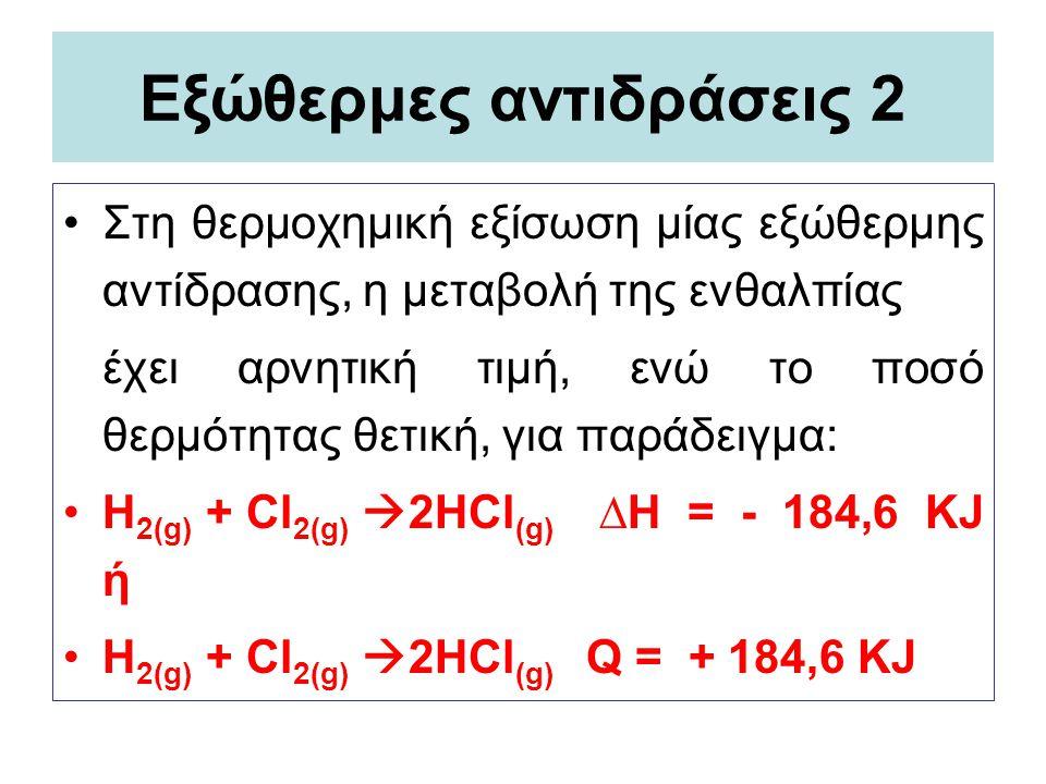 Εξώθερμες αντιδράσεις 2 Στη θερμοχημική εξίσωση μίας εξώθερμης αντίδρασης, η μεταβολή της ενθαλπίας έχει αρνητική τιμή, ενώ το ποσό θερμότητας θετική,