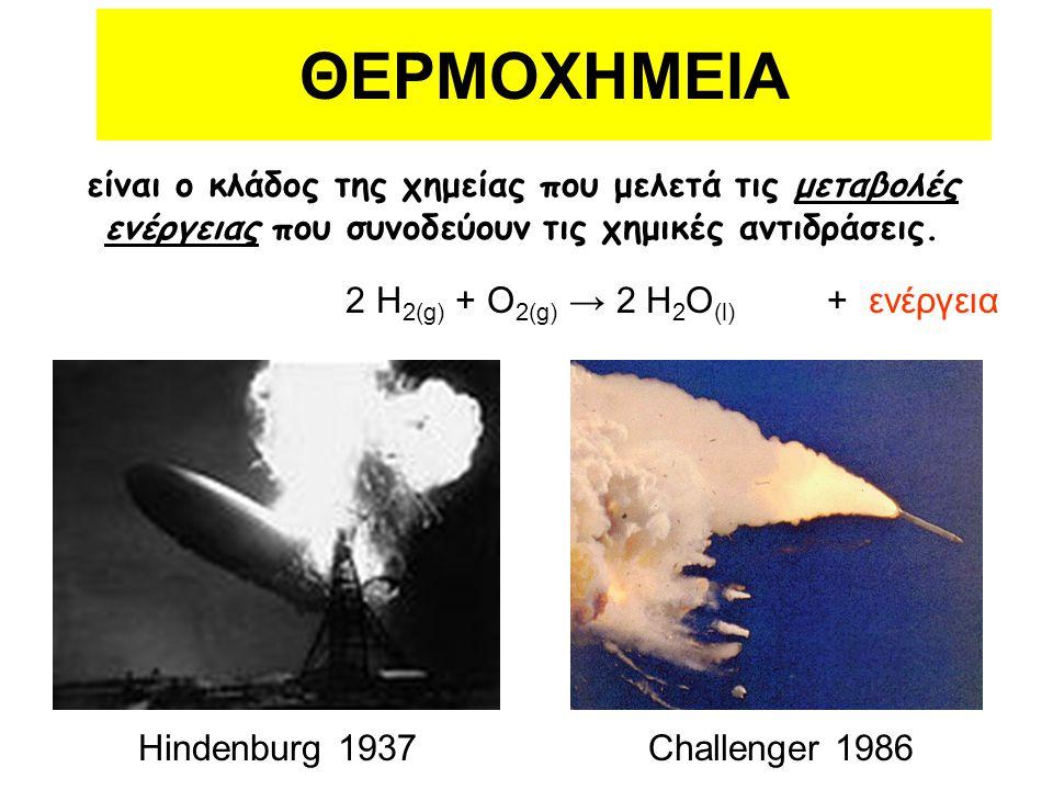 είναι ο κλάδος της χημείας που μελετά τις μεταβολές ενέργειας που συνοδεύουν τις χημικές αντιδράσεις. 2 H 2(g) + O 2(g) → 2 H 2 O (l) + ενέργεια Hinde