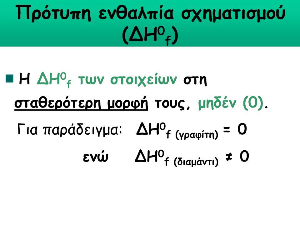 Πρότυπη ενθαλπία σχηματισμού (∆Η 0 f ) Η ∆Η 0 f των στοιχείων στη σταθερότερη μορφή τους, μηδέν (0). Για παράδειγμα: ∆Η 0 f (γραφίτη) = 0 ενώ ∆Η 0 f (
