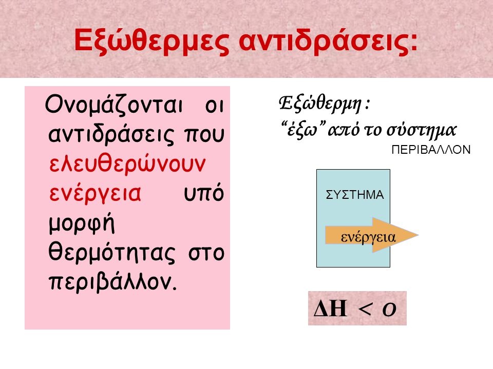 """Εξώθερμες αντιδράσεις: Ονομάζονται οι αντιδράσεις που ελευθερώνουν ενέργεια υπό μορφή θερμότητας στο περιβάλλον. Εξώθερμη : """"έξω"""" από το σύστημα ενέργ"""