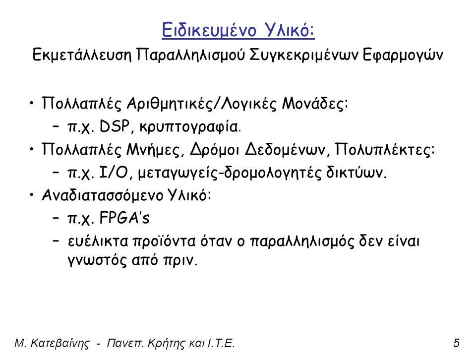 Ειδικευμένο Υλικό: Εκμετάλλευση Παραλληλισμού Συγκεκριμένων Εφαρμογών Μ.