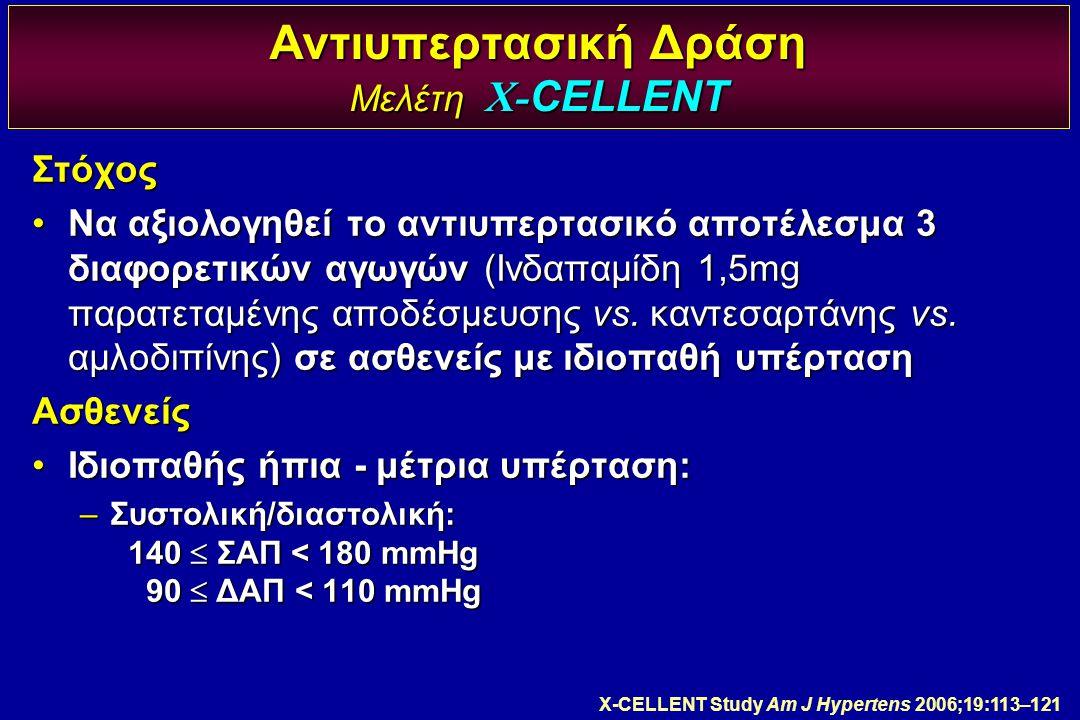 Αντιυπερτασική Δράση Μελέτη X- CELLENT Στόχος Να αξιολογηθεί το αντιυπερτασικό αποτέλεσμα 3 διαφορετικών αγωγών (Ινδαπαμίδη 1,5mg παρατεταμένης αποδέσ