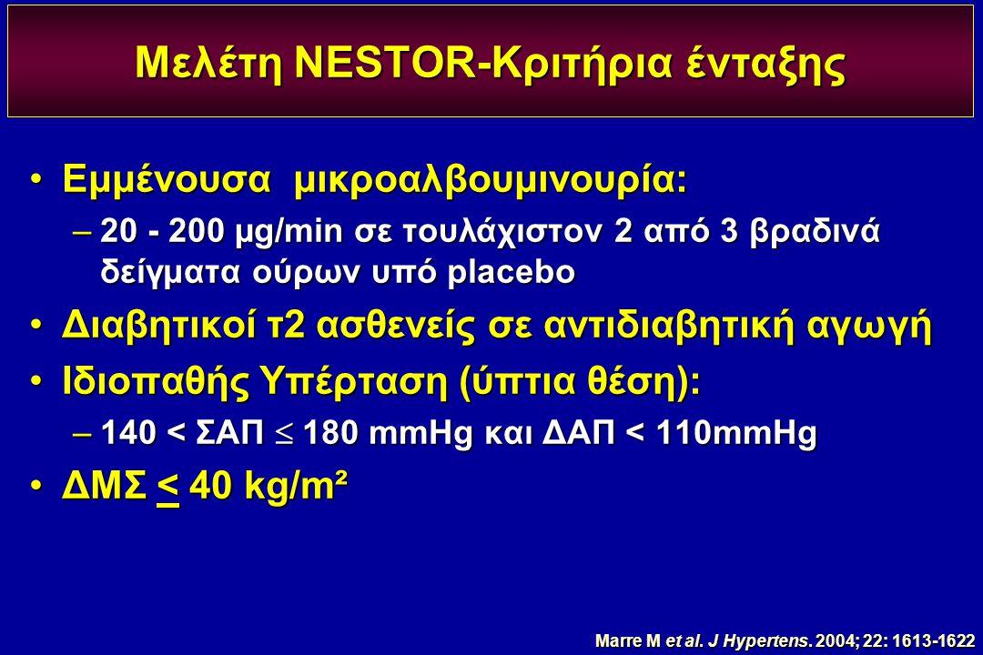 Μελέτη NESTOR-Κριτήρια ένταξης Εμμένουσα μικροαλβουμινουρία:Εμμένουσα μικροαλβουμινουρία: –20 - 200 µg/min σε τουλάχιστον 2 από 3 βραδινά δείγματα ούρ