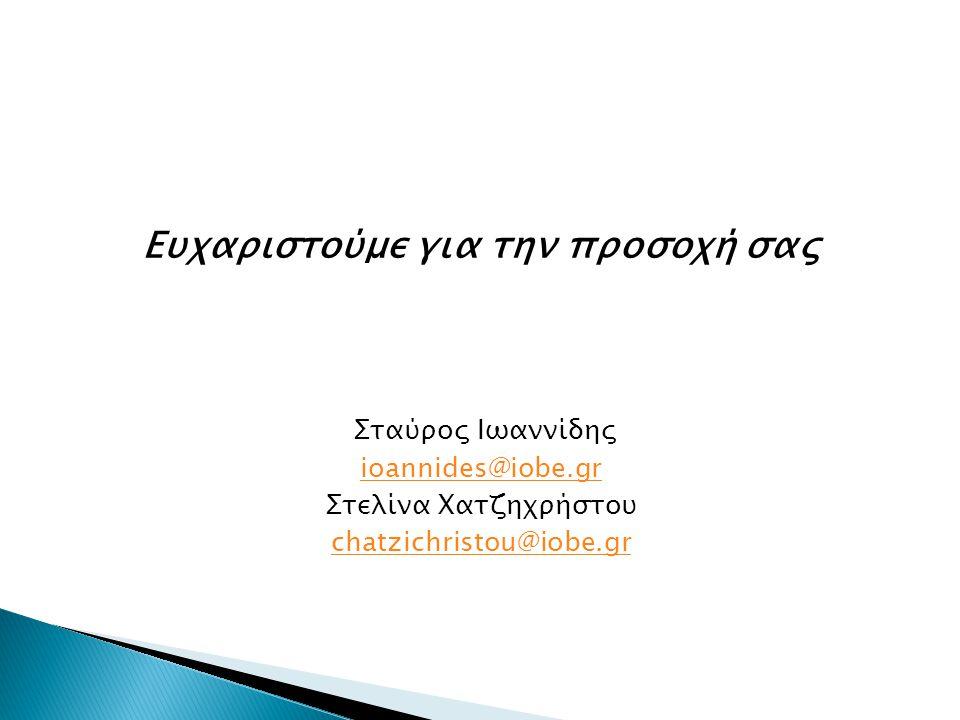 Ευχαριστούμε για την προσοχή σας Σταύρος Ιωαννίδης ioannides@iobe.gr Στελίνα Χατζηχρήστου chatzichristou@iobe.gr